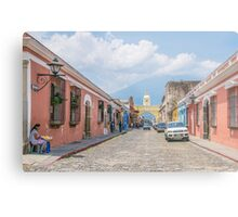 A Street in the Old Town Area of Antigua, Guatemala Metal Print