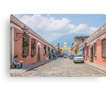 A Street in the Old Town Area of Antigua, Guatemala Canvas Print