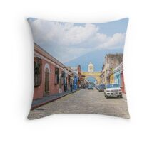 A Street in the Old Town Area of Antigua, Guatemala Throw Pillow