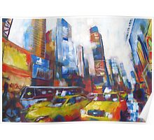 Times Square Yellow Taxi Cabs New York painting Poster