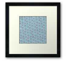 Chinese Flowers - Red on Blue Framed Print