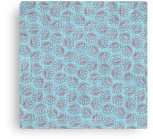Chinese Flowers - Red on Blue Canvas Print