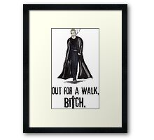 "Buffy The Vampire Slayer - Spike ""Out for a walk b#tch"" Framed Print"