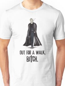 """Buffy The Vampire Slayer - Spike """"Out for a walk b#tch"""" Unisex T-Shirt"""