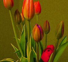 Tulips Against Green by ninasilver