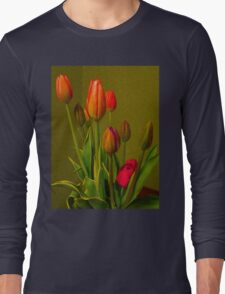 Tulips Against Green Long Sleeve T-Shirt