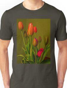 Tulips Against Green Unisex T-Shirt