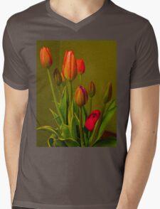 Tulips Against Green Mens V-Neck T-Shirt