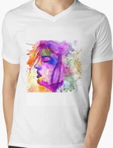 Psychedelic Face Mens V-Neck T-Shirt