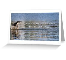 Great Blue Heron on Lost Lagoon Lake (with quote) Greeting Card