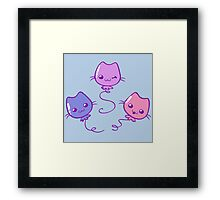 Kawaii Kitty Balloons Framed Print