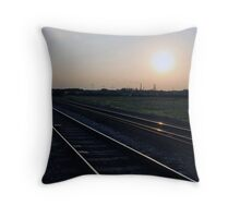 Sunset gleam off the rails, Whittlesay Throw Pillow