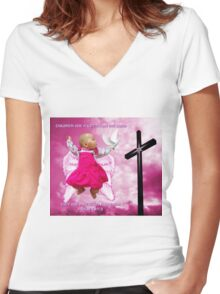 CHILDREN ARE A GIFT FROM THE LORD..ANGELIC BABY RIVEN WITH DOVE AND CROSS..PILLOW -TOTE BAG- PICTURE..ECT Women's Fitted V-Neck T-Shirt