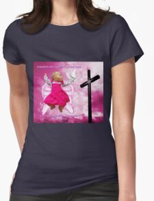 CHILDREN ARE A GIFT FROM THE LORD..ANGELIC BABY RIVEN WITH DOVE AND CROSS..PILLOW -TOTE BAG- PICTURE..ECT Womens Fitted T-Shirt
