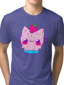 Kawaii Cupcake Kitty Tri-blend T-Shirt