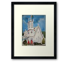St. Paul's Episcopal Church with Jet Contrail Framed Print