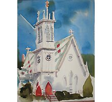 St. Paul's Episcopal Church with Jet Contrail Photographic Print
