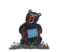 Music in the Heart, Bear with Blue Accordion Photographic Print