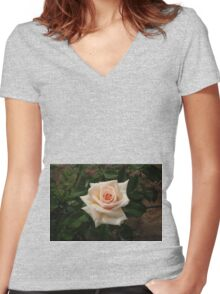 Pale Peach & Perfect Women's Fitted V-Neck T-Shirt