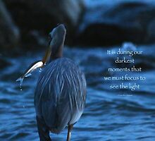 Great Blue Heron with Fish (with quote) by THurdCreations