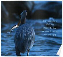 Great Blue Heron with Fish (with quote) Poster