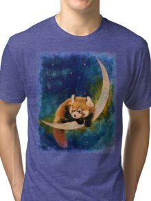Red Panda Moon Tri-blend T-Shirt