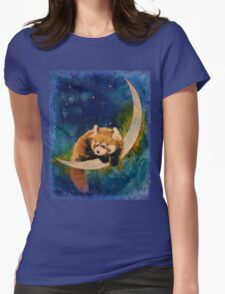 Red Panda Moon Womens Fitted T-Shirt