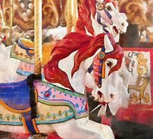 Carnival - Carousel Horses  by Mike  Savad