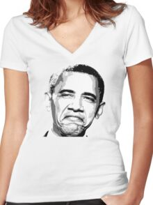 Awesome Barack Obama - Stencil - Street art Graffiti Popart Andy warhol by Jonny2may Women's Fitted V-Neck T-Shirt