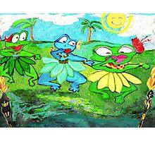Tiki Hula Frogs Photographic Print