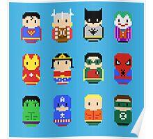 Superheroes - 8 bit Poster
