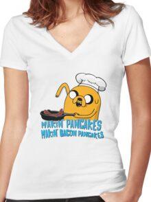 MAKIN' PANCAKES, MAKIN' BACON PANCAKES. Women's Fitted V-Neck T-Shirt
