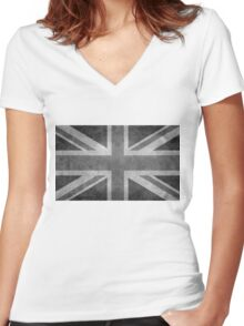 Union Jack Vintage 3:5 Version in grayscale Women's Fitted V-Neck T-Shirt