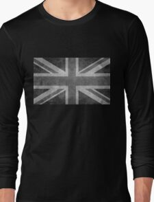 Union Jack Vintage 3:5 Version in grayscale Long Sleeve T-Shirt