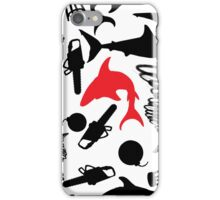 Red Sharks and Torndados, Bombs, Barstools, and Chainsaws iPhone Case/Skin
