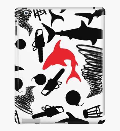 Red Sharks and Torndados, Bombs, Barstools, and Chainsaws iPad Case/Skin