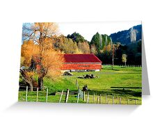 RED BARN AND ORANGE TREES Greeting Card