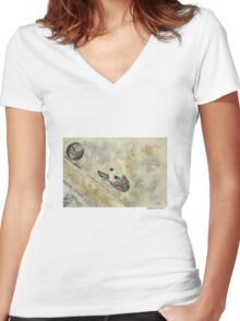 Lost Sole Women's Fitted V-Neck T-Shirt