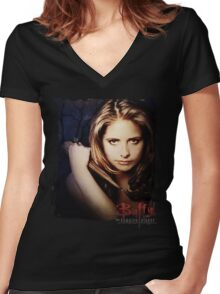 Buffy the Vampire Slayer Women's Fitted V-Neck T-Shirt
