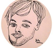 Matthew Gray Gubler contour one line drawing by julianorman