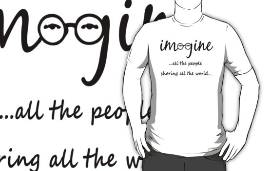 Imagine - John Lennon - Imagine All The People Sharing All The World... Typography Art by Denis Marsili - DDTK