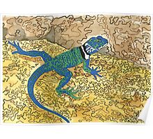 Daily Doodle 6 - Lizard Sunning on a Sizzling Stone Poster