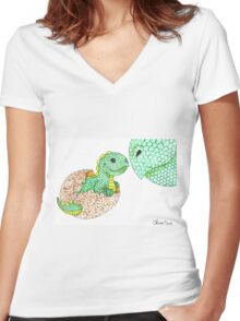 Daily Doodle 7 - Dino Love Women's Fitted V-Neck T-Shirt