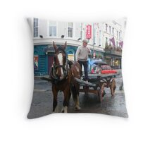 Time Gone By and in Modern Time -The Irishman On Horse and Cart Throw Pillow