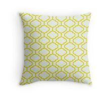 Mughal lattice bright yellow pattern Throw Pillow
