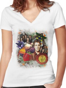Firefly/Serenity Collage Women's Fitted V-Neck T-Shirt