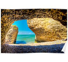 Steep Rock Manitoba Limestone Cave with Azure sky #2 Poster