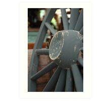 horse carriage wheel Art Print