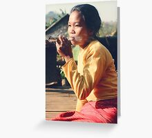Shan woman with big smoke, Thailand 1979 Greeting Card