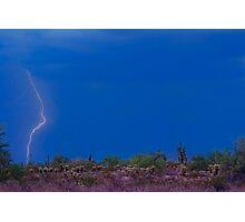 Lightning Bolt Strike in The Desert Photographic Print